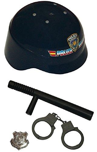 (Jungen Mädchen 4 Stück Polizei SWAT hut-abzeichen handschelllen Kostüm Kleid Outfit Zubehör Spielzeug Satz - Schwarz, One Size)
