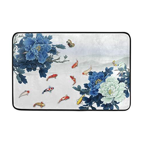 DEZIRO Tapis de Sol antidérapant Lavable en Machine Motif pivoines et Papillons Bleu