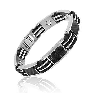 Bracelet de Golf Titane Homme - 23cm Réglable - Magnétique - Design Argent Noir