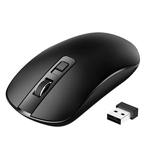 Laptop Maus, TOPELEK PC Maus Optical Business Mouse Schnurlos Computer Wireless 2.4G Intelligente Drahtlose Mäuse Geräuschlose Klicken, dünn und tragbar, geeignet Schwarz
