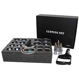 EDLES Schröpfen Set mit 22 Schröpfgläser aus Kunststoff mit Magneten + Vakuumpumpe BLACK EDITION