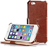 CODY for iPhone Case COWHIDE 6 Plus 5.5 inch Protective Cover Side Open Case in Brown-No NETZSTÖRdenen-Magnets
