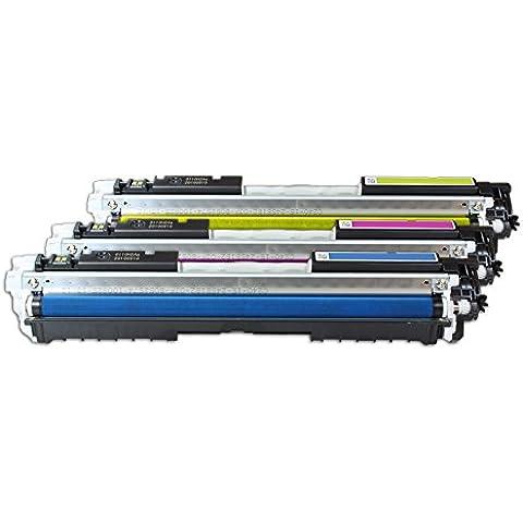 Compatible para HP LaserJet CP 1025 Color Cartucho de Tóner multipack CF341A CE311A-CE313A CMY 3 x 1000 páginas