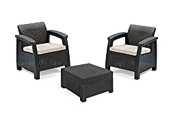 Keter 17194274 Corfu 2 Seater Balcony Garden Outdoor Rattan Furniture Set - Graphite with Cream Cushions