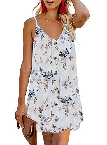 Elapsy Womens Spaghetti Straps V-Neck Vest Boho Dress Mini Beach Dresses White Medium 12 14