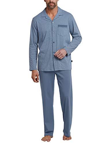 7167bafa6f Schiesser Herren Pyjama LANG' Zweiteiliger Schlafanzug, Blau (Indigo 824),  Large (