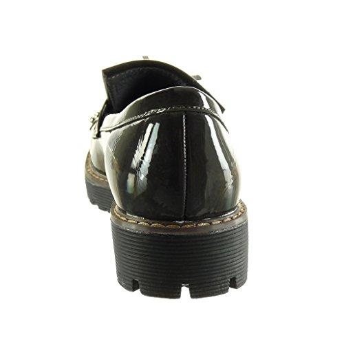 3 Cm on Tacco Sfrangiati Tacco Scarpe Grigio Da Lucido Borchiati Rivetti Blocco Donna 5 Alto Slip Mocassino Angkorly xRqwpaX66
