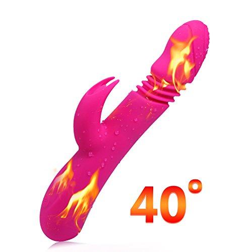 G Punkt Vibrator Rabbit Sexspielzeug Leaves Klitoris Stimulation Massagegerät für Damen Automatische Heizung 40℃ mit 7 Vibrationsmodi, 360° rotierenden Eichel(Rosa)