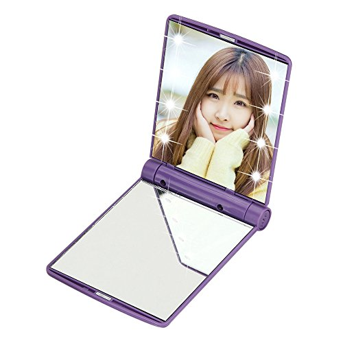 Hunpta@ Schminkspiegel Kompaktspiegel Makeup Cosmetic Folding Portable Compact Pocket Mirror with 8 LED Lights Purple - Mirror Pocket Cosmetic
