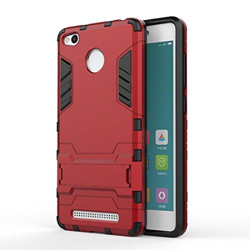 DBIT Xiaomi Redmi 3 Pro funda Alta calidad Escabroso Durable Estuche protector TPU/PC funda carcasa case con pata de cabra para Xiaomi Redmi 3 Pro,Rojo