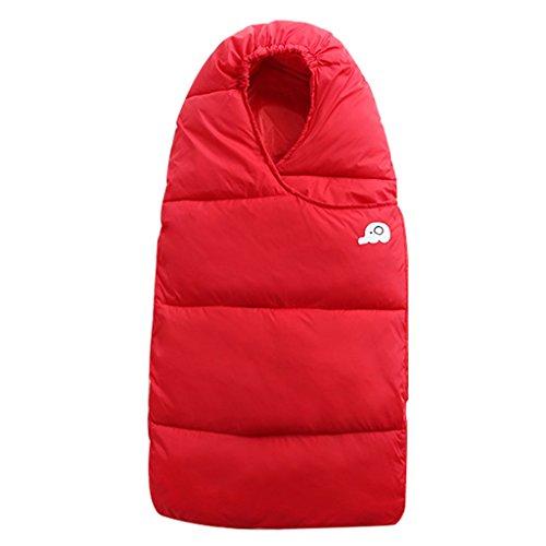 Wyt sacchi nanna bambino sacco a pelo per l'inverno giù piuma cotone denso neonato avvolgere con cerniera 76cm,rosso