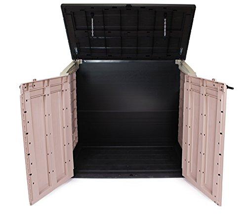Keter Store It Out Max Gartenbox Mülltonnenbox Gerätebox Schuppen für 2 x 240 Liter Mülltonnen (Beige Braun) - 2