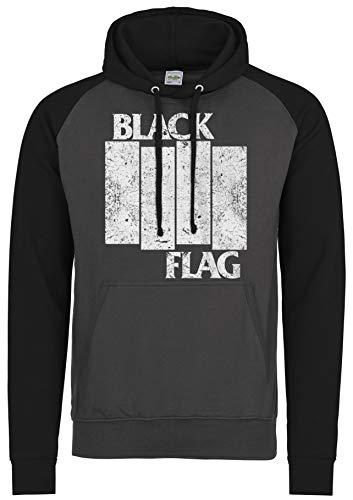 LaMAGLIERIA Sudadera Baseball Unisex Black Flag Distressed Logo...