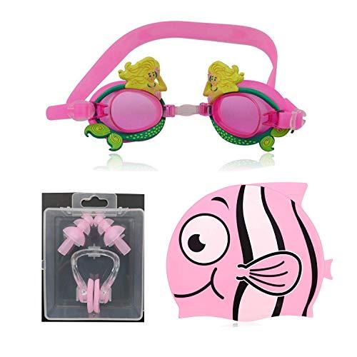 Qkurt Schwimmen Goggle Cap Set, Anti-Nebel UV-Schutz mit Nase Clip Ear Plugs Swimming Bundle Fit für Erwachsene, Männer, Frauen, Jugend, Kinder.