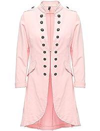 Madonna Damen Blazer Damenjacke Admiral Jacke Military Army Style Lang S -  XXL XXXL, rosa 5f81656382