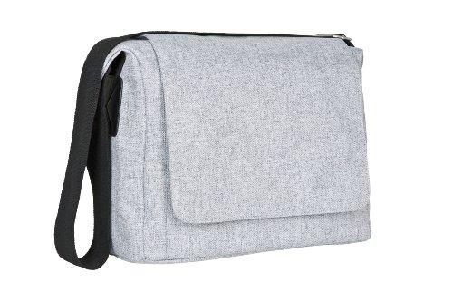 Fach Messenger Bag (LÄSSIG Baby Wickeltasche Babytasche Stylische Umhängetasche inkl. Wickelzubehör/Green Label Small Messenger Bag Update black melange)