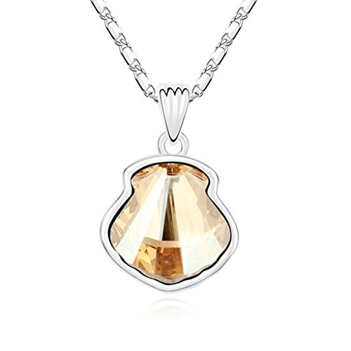 Daesar-Schmuck-Damenkette-Vergoldet-Schale-Herz-Synthetische-Kristall-Halskette-Zirkonia-Halskette-Anhnger