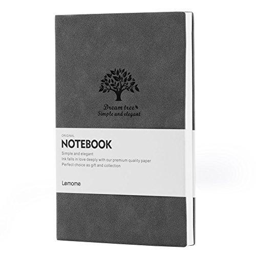 GRIS Bullet Journal/Notizbuch Dotted - Lemome Talla Mediana A5 Bullet Journal - Papel Grueso de Primera Calidad - Cuaderno de Tapa Blanda Clásico para Portátil de 5x8 inches