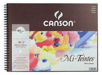 Canson : Mi-Teintes : Pastel Pad : Spiral : 24x32cm : 16 Sheets : White -