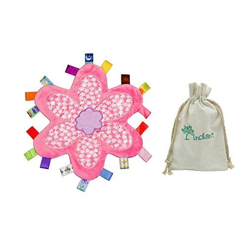 Inchant Sinnes Educational Tag Sicherheitsdecke für Baby-Kind, weicher Plüsch Blumen Decke mit Taggie - Die besten Geschenke für Babys