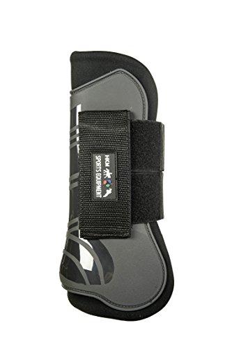 HKM 91999591.0652 Springgamaschen und Streichkappen, 4er Set, Genua, grau/schwarz