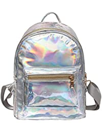 Chic Dairy Girl s Holographic Laser Leather Backpack School Bookbag Travel  Casual Daypack for Women 6273eee6df284
