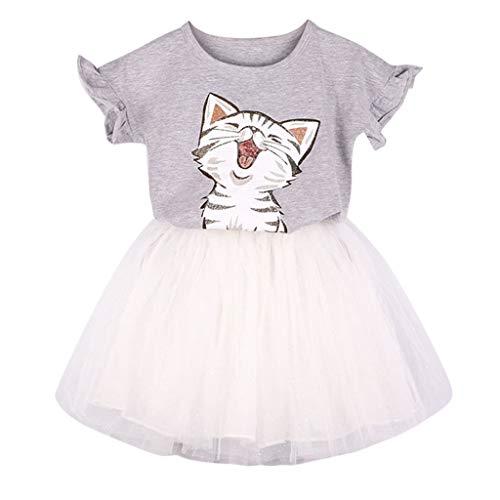 Kleinkind Kitty Katze Kostüm - LIGESAY Kleinkind Kind Baby Mädchen Kleidung Set Outfits Süße Katze Gedruckt T-Shirt + Tutu Rock Set Kleid Plissee Kinder Gedruckt Niedlich Kitty Streifen