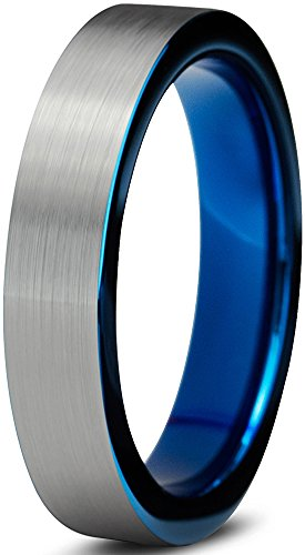 Tungsten Wedding Band Ring 4mm for Men Women Comfort Fit Blue Pipe Cut Brushed Lifetime Guarantee