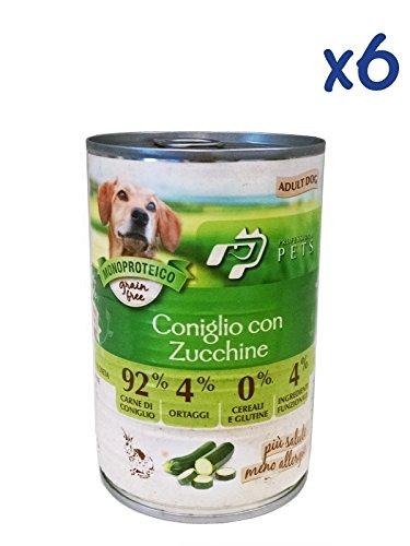 Professional Pets Monoproteico al coniglio con zucchine (6x400g) - Cibo umido ipoallergenico al coniglio, per cani adulti