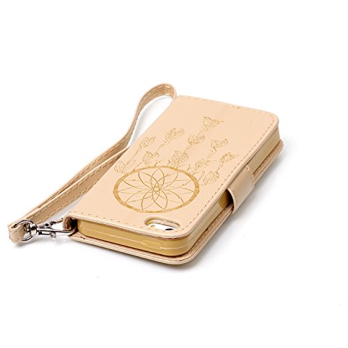 iPhone SE / 5 / 5S Hülle,iPhone SE / 5 / 5S Ledertasche Brieftasche im BookStyle,Cozy Hut Handyhülle iPhone SE / 5 / 5S [Flügel] Muster PU Leder Tasche Schutzhülle Folio Magnetverschluss Flip Case Wal Gold Campanula