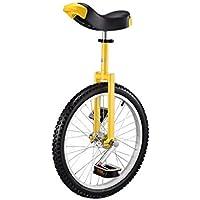 ZSH-dlc Monociclo 20 Pulgadas Individual Redonda para niños, Adultos, de Altura Ajustable, Equilibrio, Ejercicio de Ciclismo, Color múltiple (Color : Amarillo, Tamaño : 20 Inch)