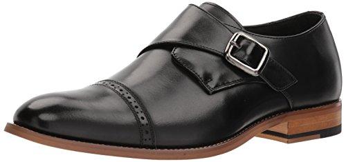STACY ADAMS Men's Desmond Cap Toe Monk Strap Loafer, Black, 9.5 W US Cap Toe Loafer