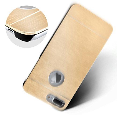 iPhone 5S Hülle Dünn Gold [OneFlow Aluminium Back-Cover] Schutz Handytasche Ultra-Slim Handy-Hülle für iPhone 5/5S/SE Case Metall Schutzhülle Alu Hard-Case IVORY