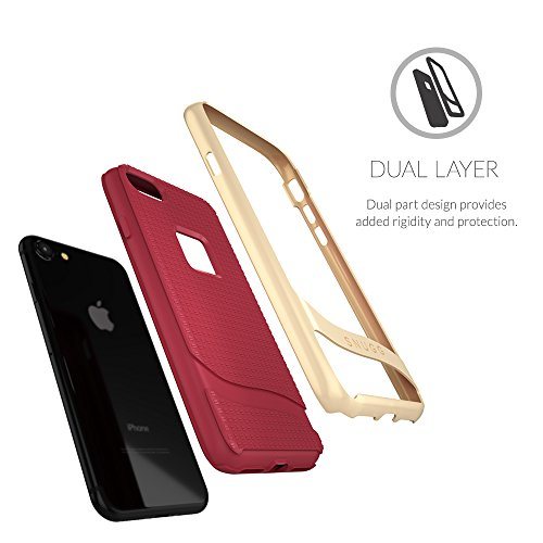 Coque iPhone 7 , Snugg Apple iPhone 7 [Cascade Series] Double Couche Case Housse Silicone [Bouclier Légère] Etui de Protection - Dusty Cedar Red Dusty Cedar Red