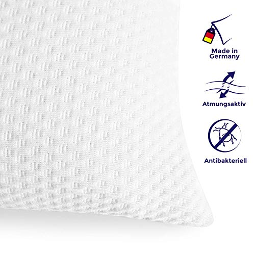 Mister Sandman orthopädisches Kopfkissen und Nackenstützkissen - Ergonomisches Viscoschaum Kissen mit Doppeltuch Bezug - Jeden Tag erholt aufwachen (40 x 80cm, weiß)