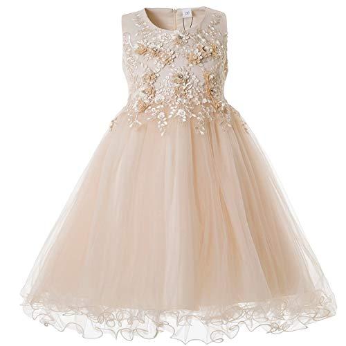 CIELARKO Mädchen Kleid Prinzessin àrmellos Blumen Hochzeits Festzug Kleid Blumenmädchen Kleider, Gelb, 2-3 Jahre -