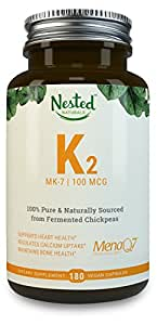 Vitamin K2 MK-7 - Natural MenaQ7 from Fermented Chickpeas - Supports Healthy Bones, Heart, Arteries & More - 3rd Party Tested to Guarantee Quality - Vegan Capsules, 100% Pure, Non-GMO