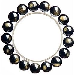 Pulsera de obsidiana de oro natural con cristales de calidad para hombre, accesorios venus macho dorados