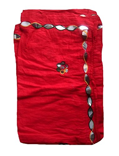 Stuvi Trendz 100 % Rajasthani work Cotton Red Dupatta for Women and Girls