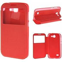 MOONCASE Huawei G730 Funda, UltraSlim Carcasa Cuero Tapa para Huawei Ascend G730 Bookstyle Case Flip Cover Función de Soporte con View Window Rojo