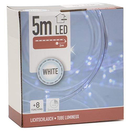 LED Lichtschlauch 5m für außen und innen mit Timer und Programmen Batteriebetrieben für indirekte Beleuchtung Lichtband (kaltweiß)