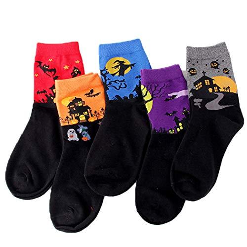 ZOYLINK 5 Paar Halloween Socken Fashion Cartoon High Ankle Socks Crew Socken für Frauen