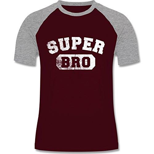 Shirtracer Bruder & Onkel - Super Bro - Vintage-&Collegestil - Herren Baseball Shirt Burgundrot/Grau meliert