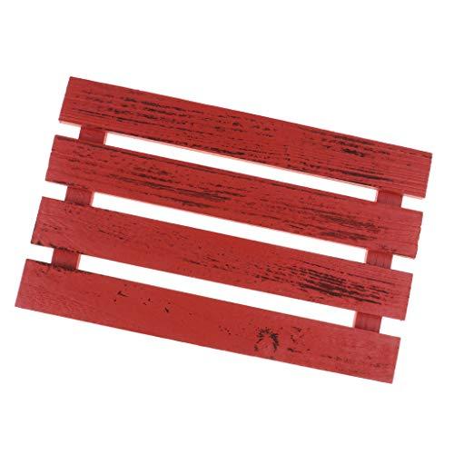 sharprepublic Miniatur Natürliche Holz Dekorative Board DIY Handwerk Für Garten Rasen Tor Guard Bar Materialien - Rot, M -
