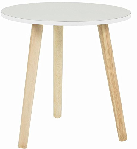 PEGANE Table d'appoint Rond en Bois Massif Coloris Blanc - Dim : Diam 40 x H40 cm