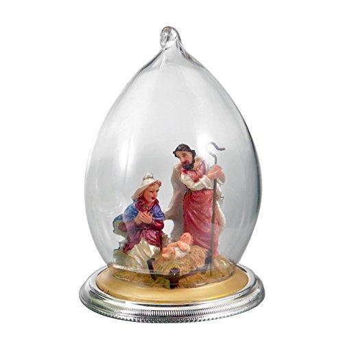 Creche en cloche de verre , capsule silver plated diam cm8 h12cm