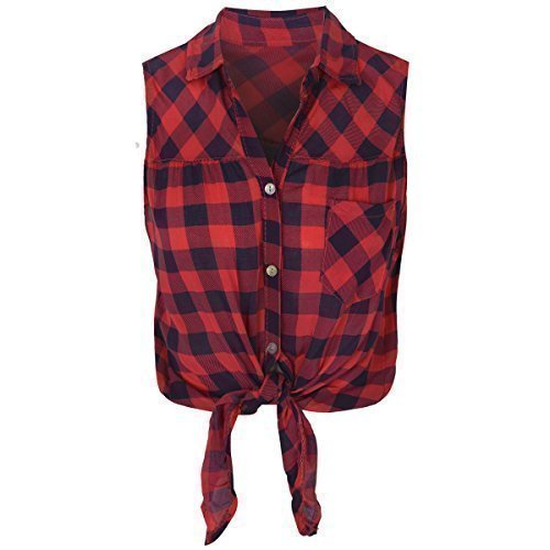 womens-ladies-check-shirt-lumberjack-sleeveless-knot-tie-crop-top-blouse-size