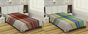 RR Textiles 180 T 2 Piece Cotton Single Bedsheet - Multicolor