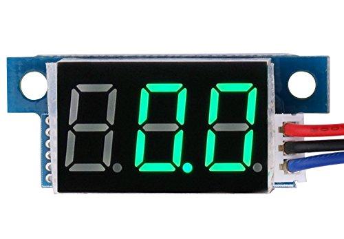 "LED Voltmeter,Yeeco Mini 0.36\""Digital Spannung Meter DC 4.5~30V Volt Prüfer LED-Panel Voltmeter,Messbereich DC 0-200V,3 Draht Auto-Motorrad-Batterie-Monitor-Lehre(Grün)"