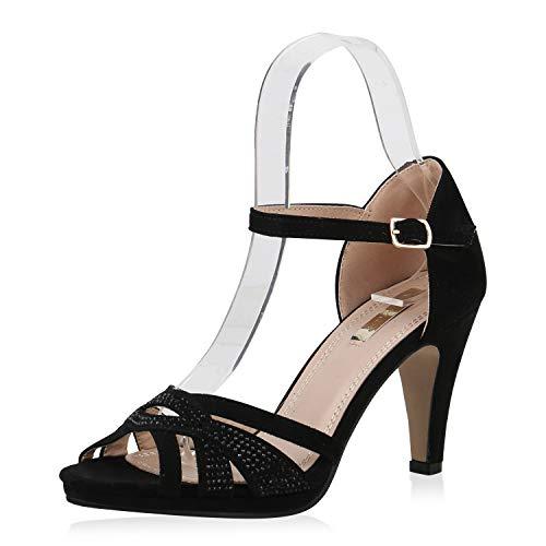 SCARPE VITA Damen Pumps Riemchensandaletten Strass High Heel Sandaletten Party Schuhe Elegante Cut Out Riemchen 173402 Schwarz Schwarz 38